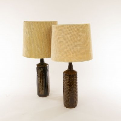 Pair of brown DL/27 table lamps by Per Linnemann-Schmidt for Palshus Denmark