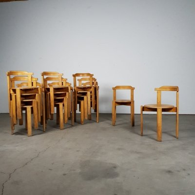 14 vintage wooden stack chairs from the 1970s