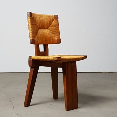 Architectural french tripod chair with wicker work, 1940s