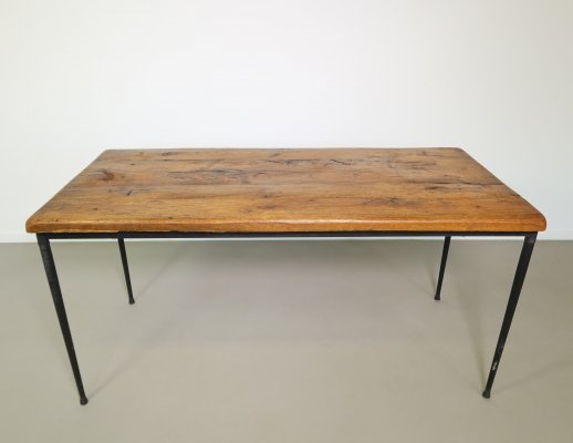 Oak dining table with Industrial metal table base, 1960s