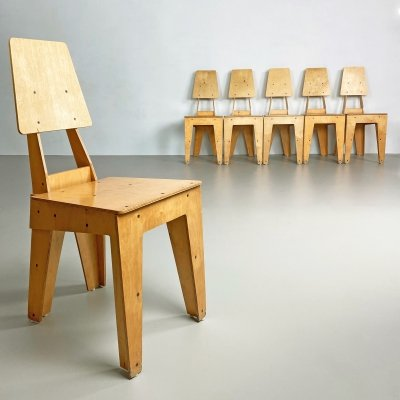 Set of 6 Postmodern Custom Made Plywood Chairs by Gavin Avery & Shiu Kay Kan, England c.1990