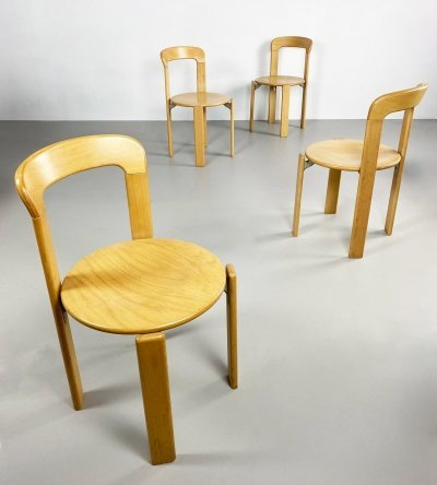 Set of 4 Vintage Dining Chairs by Bruno Rey, Switzerland c.1970