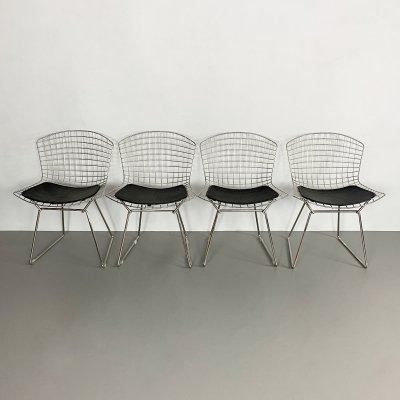 Set of 4 Vintage Chrome Bertoia Side Chairs by Knoll