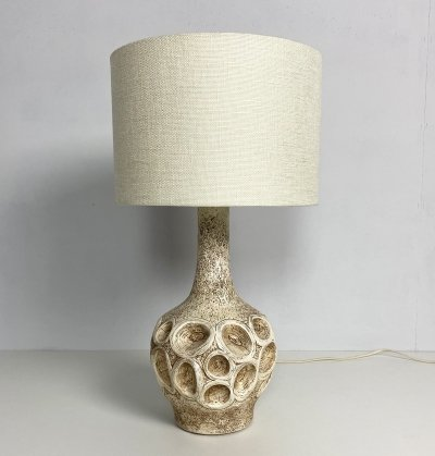 Mid Century Chalkware Sgraffito Table Lamp, c.1960