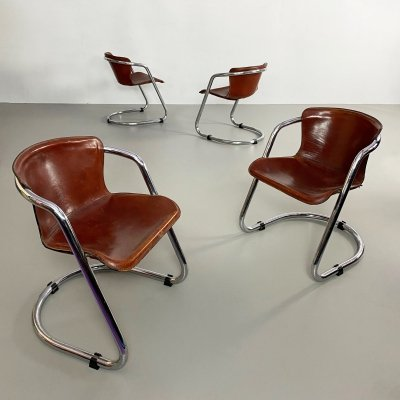 Set of 4 Leather & Chrome Dining Chairs by Willy Rizzo for Cidue, Italy c.197