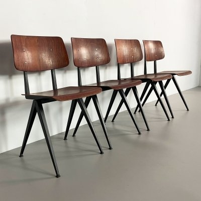 Set of 4 Vintage Plywood Galvanitas S16 Chairs, Netherlands