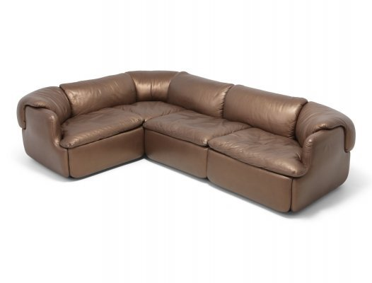 Bronze Golden Leather 'Confidential' Sectional Sofa by Saporiti, 1972