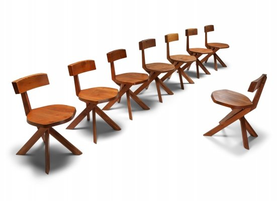 Pierre Chapo 'S34' Dining Chairs in Solid Elm, 1960's