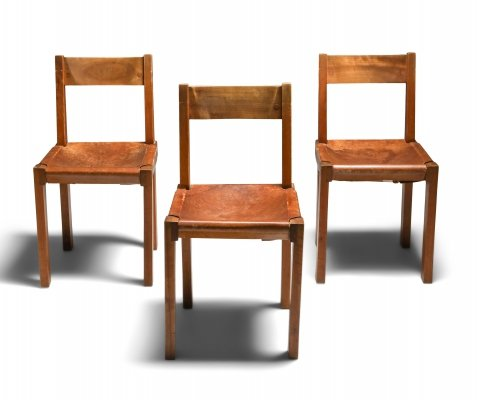 Pierre Chapo 'S24' Chairs in Elm & Cognac Leather, 1970's
