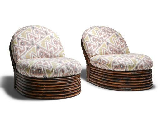 Pair of Vivai del Sud bamboo lounge chairs, 1970s