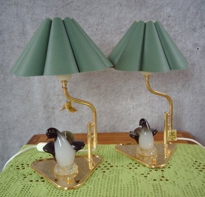 Pair of Gold Plated Table Lamps from Rejmyre Armaturfabrik AB, 1970s