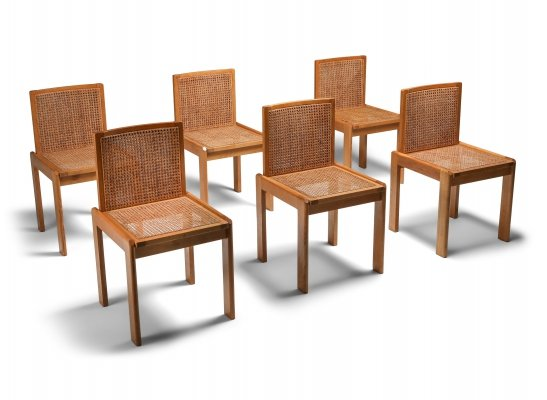 Set of 6 Dining Chairs in Oak & Cane, 1970's