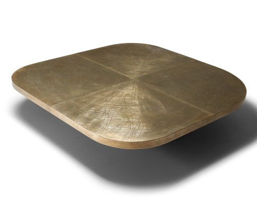 Georges Mathias XL brass etched table, 1970's