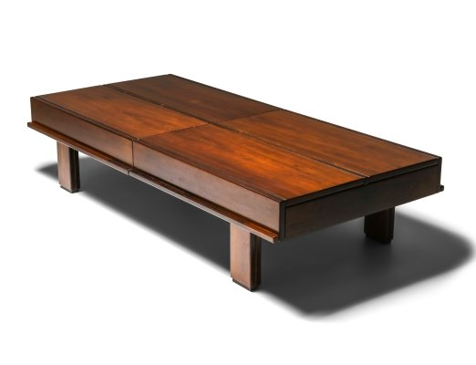 Michelluci walnut coffee table with storage, 1970's