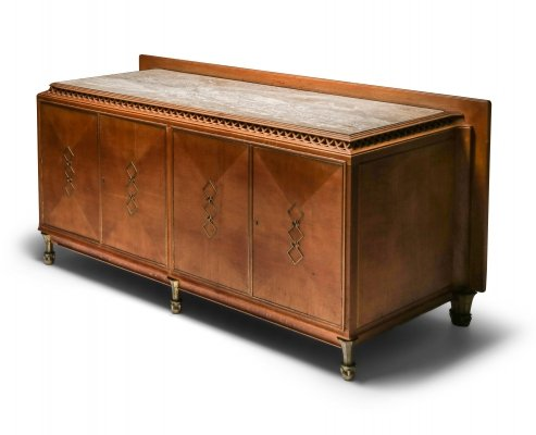High-end Credenza in oak, bronze & marble, 1930's