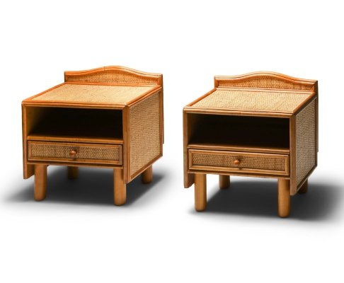 Bamboo & rattan bed side tables by Vivai del Sud, 1970's