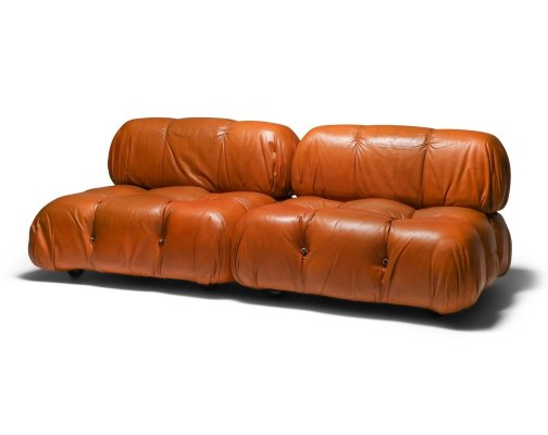 Mario Bellini 'Camaleonda' sofa in original cognac leather, 1970's