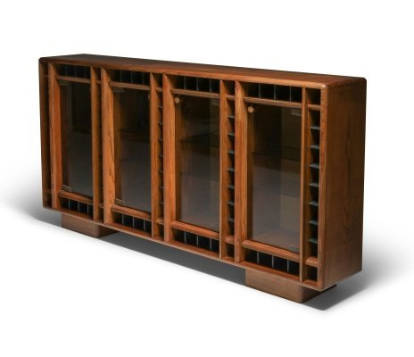 Italian oak sideboard with glass doors & space for bottles, 1970's