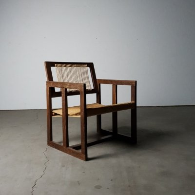 Unique rope chair in solid wenge wood, 1960s