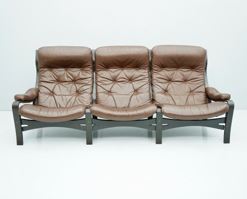 Scandinavian Three Seater Leather Sofa, 1970s