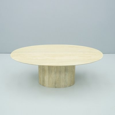 Oval Pedestal Travertine Coffee Table, Italy 1970s