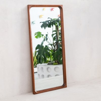Large Mid Century Danish mirror in teak, 1970s