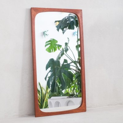 Danish modern teak wall mirror by Aarhus Glasimport og Glassliberi, 1960s