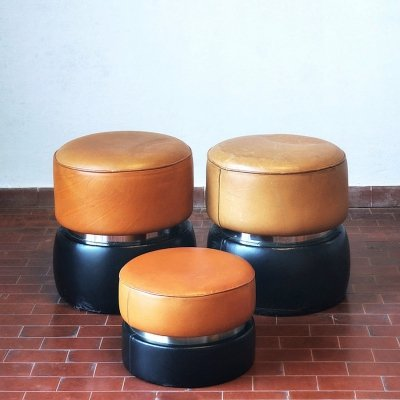 3 x Pouf in black & leather, 1980s