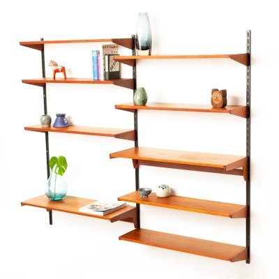 Vintage Danish Kai Kristiansen for FM Mobler teak wall unit with nine shelves, 1960s