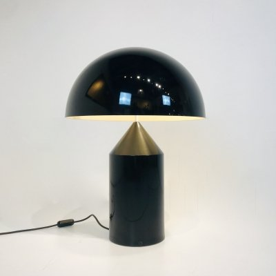 Large size 'Atollo' Vintage Table Lamp in black steel by Vico Magistretti, Italy