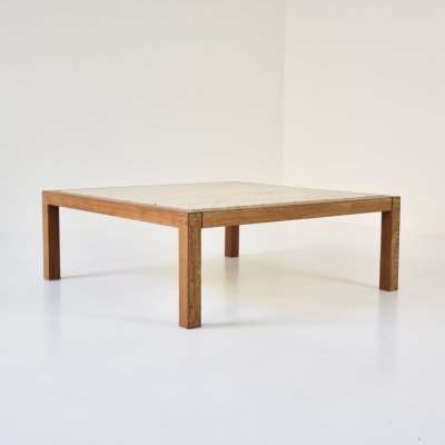 Square travertine & wenge coffee table, Belgium 1950's