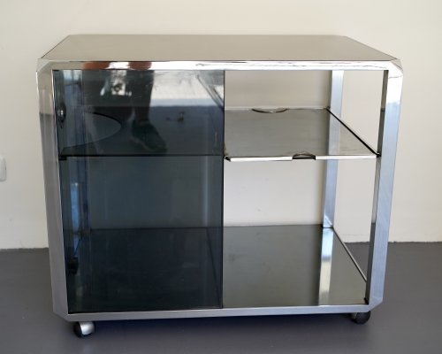 Vintage glass & chrome bar cart by Willy Rizzo for Mario Sabot, Italy 1970s