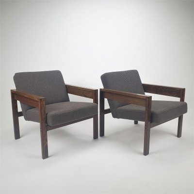 Pair of Wengé sz25/sz80 lounge Chairs by Hein Stolle for 't Spectrum, 1960s