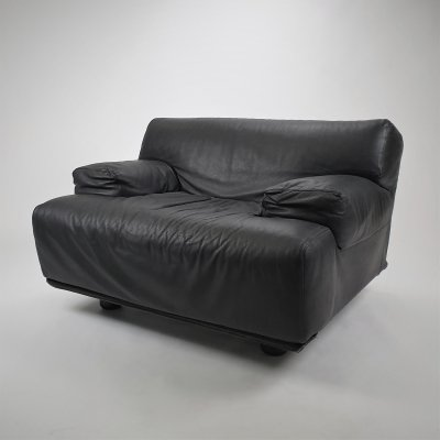 Black Leather Fiandra Lounge Chair by Vico Magistretti for Cassina, 1970s