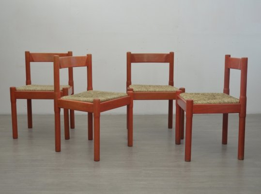 Set of 4 Red Carimate Chairs by Vico Magistretti
