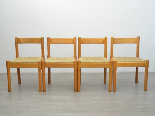 Set of 4 Carimate Dining Chairs by Vico Magistretti, 1970s