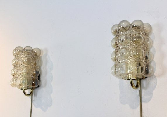 Pair of Helena Tynell Bubble Glass & Brass Sconces for Glashütte Limburg