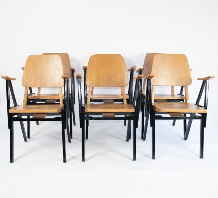 Dutch vintage design theater / cinema chairs by Zwager Ermeloo, 1950's