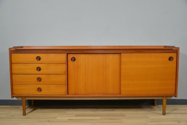 Vintage Italian Beech Sideboard with Sliding Doors & drawers, 1950s