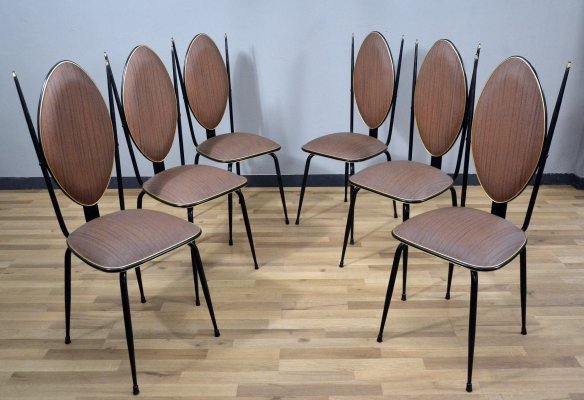 Set of 6 Vinyl & Steel Dining Chairs by Umberto Mascagni, 1950s