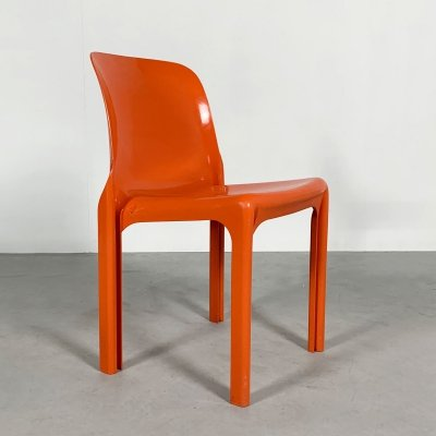 Flash Orange Selene Chair by Vico Magistretti for Artemide, 1970s