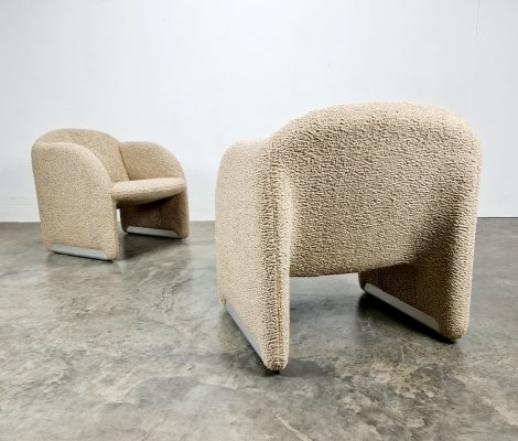 Set of 2 Ben chairs in teddy fabric by Pierre Paulin for Artifort, 1970s