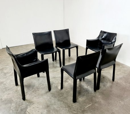 Set of 6 CAB 412 & 413 chairs by Mario Bellini for Cassina, 1980s