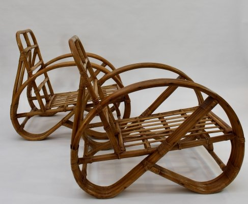 Pair of 1970's French rattan chairs