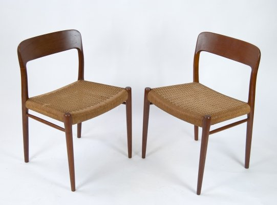 Model 75 Dining Chairs by Niels O. Møller for J.L. Møllers, 1960s