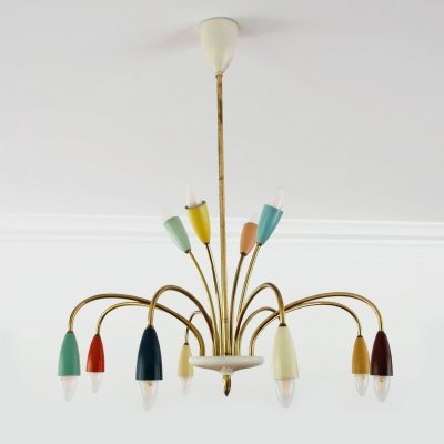 Large mid century modern chandelier, Germany 1950s
