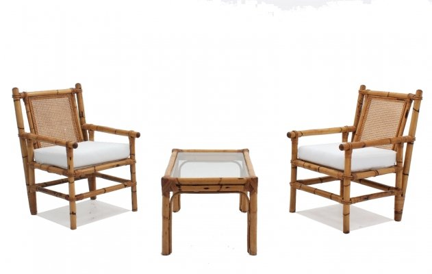 Vintage bamboo living room set, 1950s