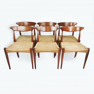 Set of 6 Danish Teak Dining Chairs by Arne Hovmand-Olsen for Mogens Kold, 1950s