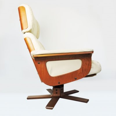 Vintage Cream Leather Lounge Chair, 1970s