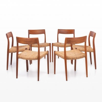 Set of 6 Model 77 dining chairs by Niels O. Møller for JL Møllers Møbelfabrik, 1960s